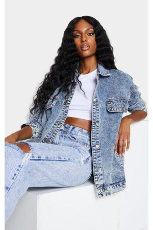 PRETTYLITTLETHING Women Denim Jackets - Acid Wash Oversized Boyfriend Pocket Detail Denim Jacket