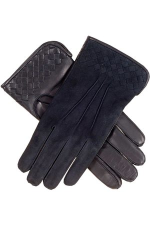 Black Men's Suede and Leather Woven Gloves - Cashmere Lined