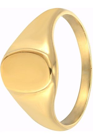 The Love Silver Collection 18Ct Gold Plated Sterling Silver Oval Signet Ring