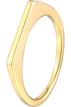 The Love Silver Collection 18Ct Gold Plated Sterling Silver Thin Square Edge Stacking Ring