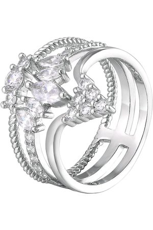 The Love Silver Collection Sterling Silver Cubic Zirconia Crown Shape Triple Stack Cocktail Ring