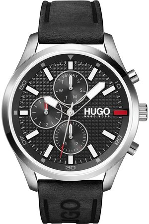 HUGO BOSS Chase Black Chronograph Dial Black Leather Strap Watch