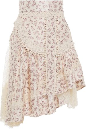 ZIMMERMANN Woman Asymmetric Floral-print Silk-shantung Flocked Tulle And Lace Skirt Pastel Size 0