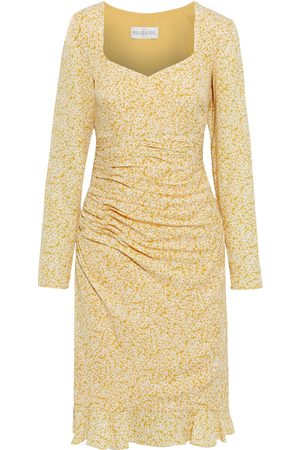 MIKAEL AGHAL Woman Ruched Floral-print Crepe De Chine Dress Marigold Size 10