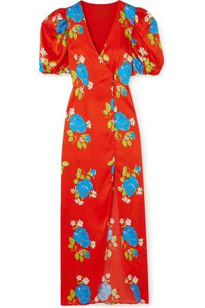 De La Vali Woman Ohio Floral-print Satin Maxi Dress Tomato Size 10