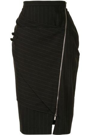 Lisa Von Tang Pinstriped panelled pencil skirt