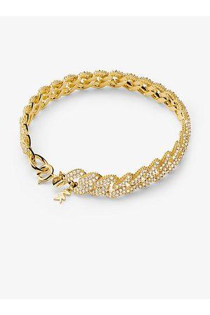 Michael Kors MK Precious Metal-Plated Sterling Silver Pavé Curb Link Bracelet