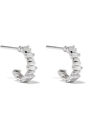Suzanne Kalan 18kt white gold and diamond small hoop earrings