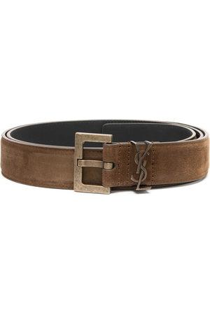 Saint Laurent Square-buckle logo belt