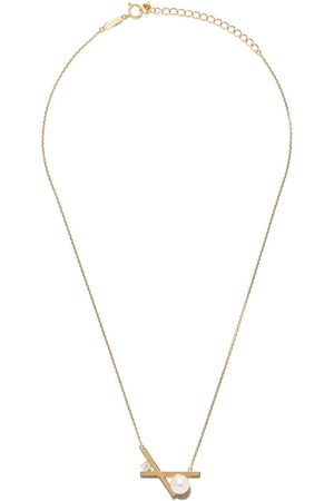 Tasaki 18kt yellow Balance cross Akoya pearl and diamond pendant