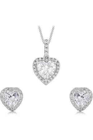 Love GOLD Women Watches - 9Ct White Gold Cubic Zirconia Heart Jewellery Set