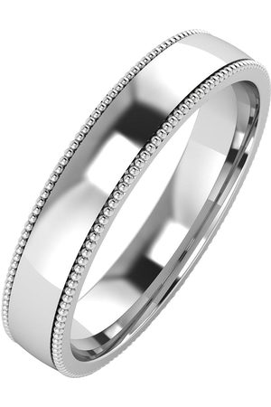 The Love Silver Collection Silver Mill Grain Edge 4Mm Court Wedding Band