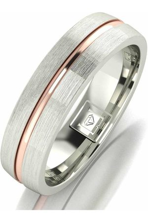 The Love Silver Collection Argentium Silver 5Mm Wedding Band With 9Ct Gold Stripe