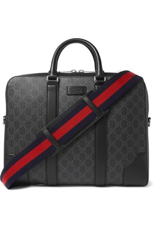 Gucci Men Laptop & Business Bags - Leather-Trimmed Monogrammed Coated-Canvas Briefcase