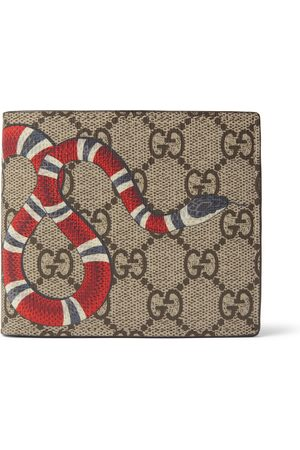 Gucci Printed Monogrammed Coated-Canvas and Leather Billfold Wallet