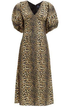 Julie De Libran Gilda Puff-sleeve Leopard-print Taffeta Midi Dress - Womens - Animal