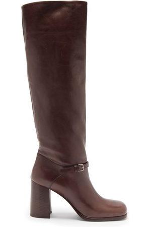Miu Miu Square-toe Leather Knee-high Boots - Womens - Dark