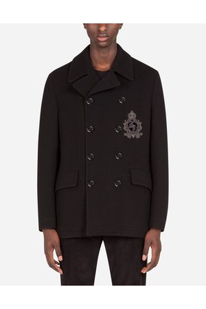 Dolce & Gabbana Collection - JERSEY WOOL PEA COAT WITH PATCH EMBELLISHMENT male 44
