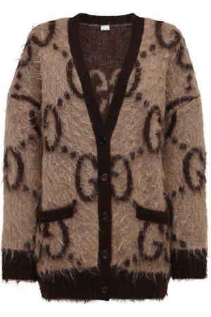 GUCCI Women Cardigans - Oversized Gg Mohair Blend Knit Cardigan