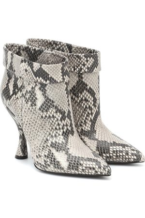 DRIES VAN NOTEN Snake-effect leather ankle boots