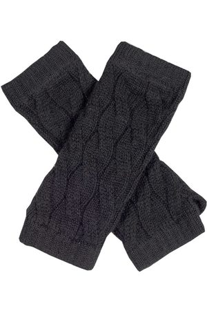 Black Long Cable Wrist Warmers
