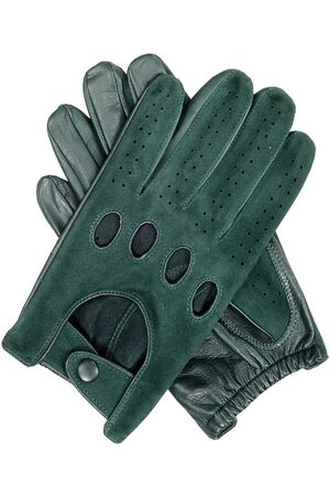Black Men's Suede and Leather Driving Gloves