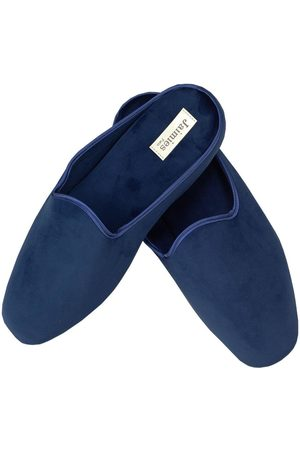 Black Men's Classic Navy Velvet Mule Slippers
