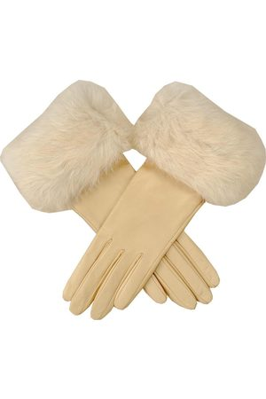 Black Cream Leather Gloves with Rabbit Fur Cuff