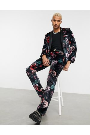 Twisted Tailor Trousers - Suit trousers with large floral print in velvet