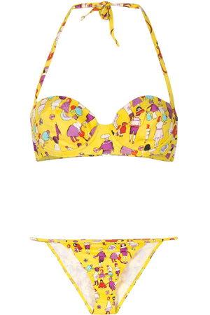 CHANEL 2001 little people print bikini set