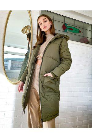Object Longline Padded Coat in khaki