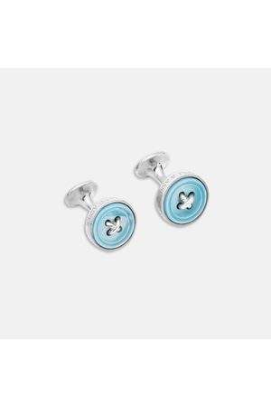 Turnbull & Asser Monogrammed Sterling Mother-of-Pearl Button Cufflinks