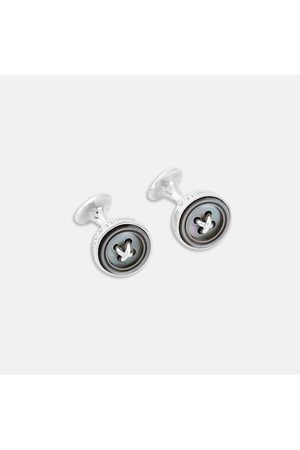 Turnbull & Asser Monogrammed Smoke Sterling Mother-of-Pearl Button Cufflinks