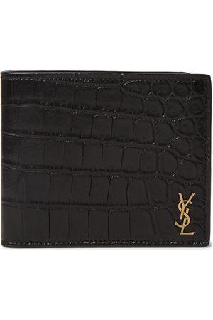 Saint Laurent Men Purses & Wallets - Logo-Appliquéd Croc-Effect Leather Billfold Wallet