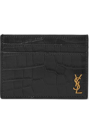 Saint Laurent Men Purses & Wallets - Logo-Appliquéd Croc-Effect Leather Cardholder