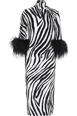 HALPERN Feather-trimmed zebra-print midi dress