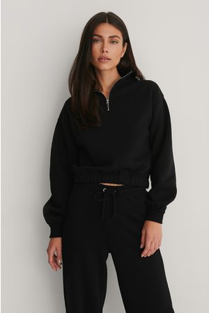 NA-KD Front Zip Sweater - Black