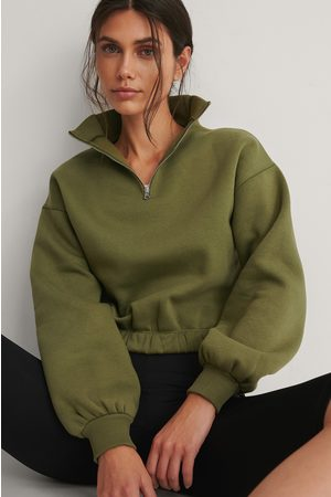NA-KD Front Zip Sweater - Green