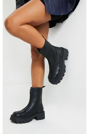 PRETTYLITTLETHING Women Biker Boots - Chunky Zip Front Hiker Biker Boot