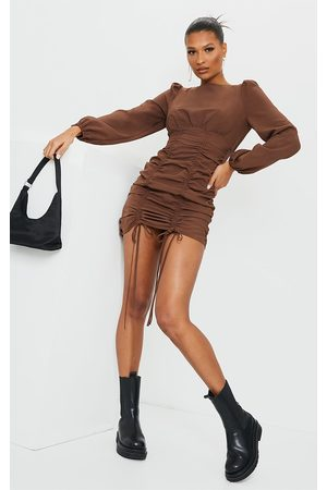 PRETTYLITTLETHING Chocolate Ruched Long Sleeve Bodycon Dress