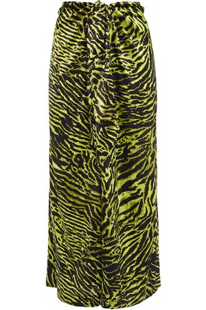 Ganni Women Printed Skirts - Woman Tie-front Printed Stretch-silk Satin Midi Skirt Animal Print Size 40