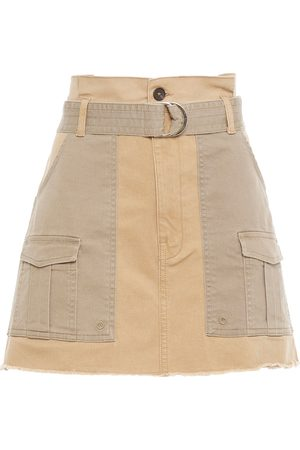 Frame Women Mini Skirts - Woman Belted Two-tone Cotton-blend Twill Mini Skirt Sand Size 24