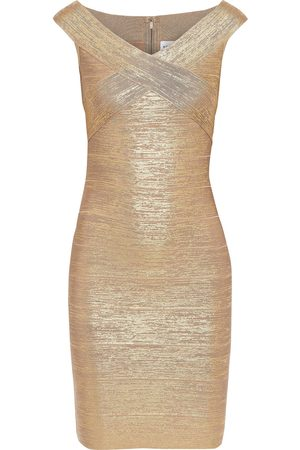 Hervé Léger Hervé Léger Woman Metallic Bandage Mini Dress Size L