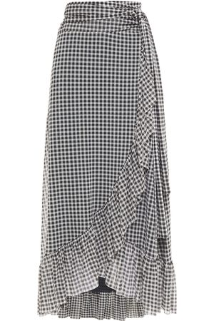 Ganni Woman Ruffle-trimmed Gingham Stretch-mesh Midi Wrap Skirt Size 32