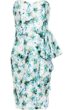 Badgley Mischka Woman Strapless Draped Floral-print Faille Dress Size 10