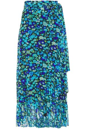 Ganni Woman Ruffled Printed Stretch-mesh Midi Wrap Skirt Azure Size 32
