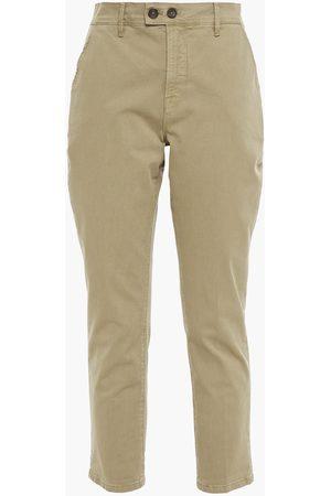 Frame Woman Cropped Cotton-twill Slim-leg Pants Sage Size 23
