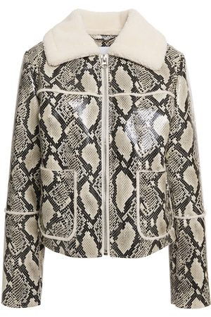 Stand Studio Woman May Faux Shearling-trimmed Faux Snake-effect Leather Jacket Animal Print Size 34
