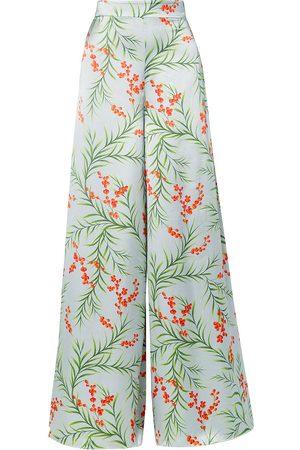 SEREN LONDON Women Wide Leg Trousers - Woman Joni Floral-print Silk-satin Wide-leg Pants Sky Size XS