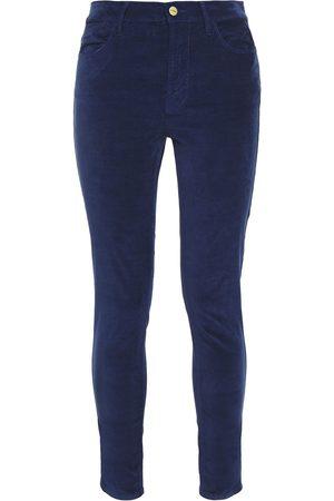 Frame Woman Le High Skinny Stretch-velvet Skinny Pants Navy Size 24